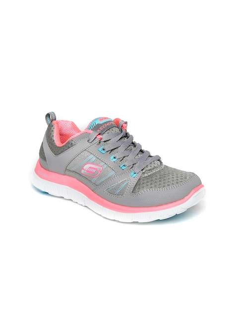 Skechers Women Grey & Pink Flex Appeal Sneakers