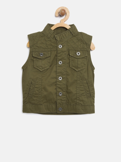 Gini and Jony Boys Olive Green Solid Tailored Jacket