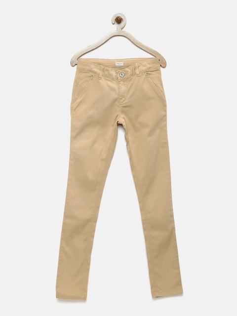 Gini and Jony Girls Khaki Solid Regular Fit Chino Trousers