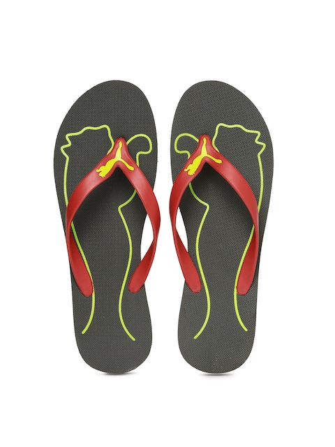 PUMA Men Red & Charcoal Grey Luca DPFlip-Flops