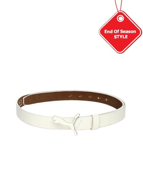 PUMA Women White Leather Skinny Pop Fitted Belt