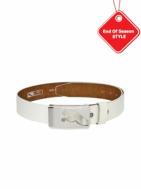 PUMA Men White Leather Highlight Fitted Golf Belt
