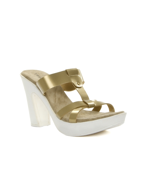 Inc 5 Women Antique Gold-Toned Glossy Platforms