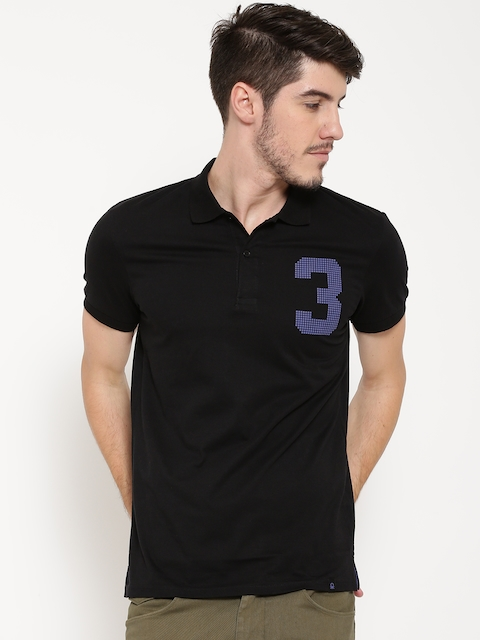 United Colors of Benetton Men Black Printed Detail Polo Collar T-shirt
