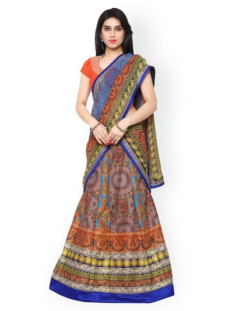 Saree mall Multicoloured Printed Semi-Stitched Lehenga Choli with Dupatta  available at myntra for Rs.3299