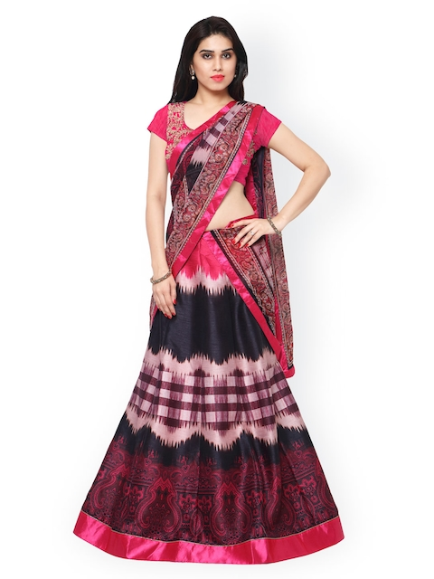 Saree mall Pink & Black Printed Semi-Stitched Lehenga Choli with Dupatta  available at myntra for Rs.4517