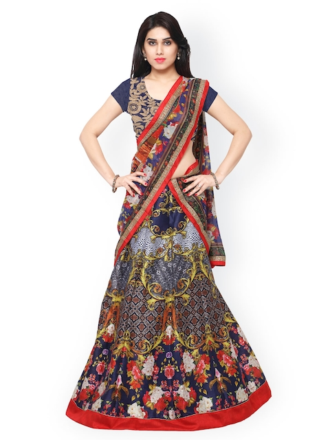 Saree mall Multicoloured Printed Semi-Stitched Lehenga Choli with Dupatta  available at myntra for Rs.4536