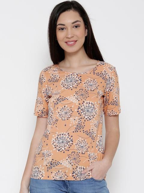 Park Avenue Women Orange Printed Regular Top