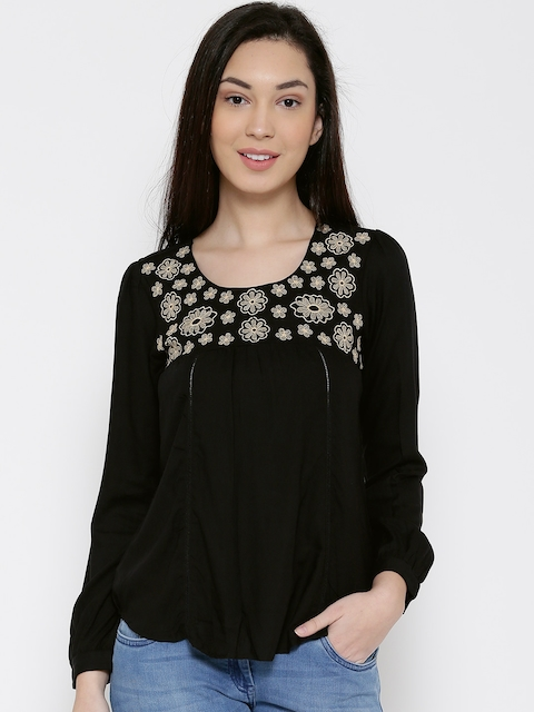 Park Avenue Women Black Floral Embroidered Top
