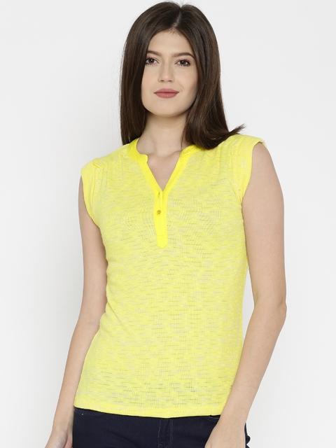 Park Avenue Women Yellow Self-Design Henley Neck T-Shirt