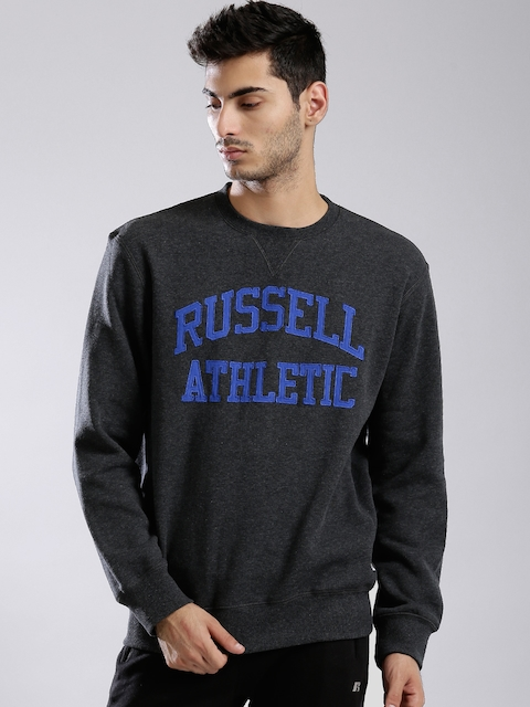 Russell Athletic Charcoal Grey Appliqué Hooded Sweatshirt