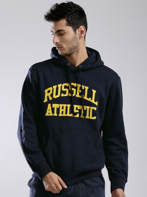 Russell Athletic Navy Appliqué Detail Hooded Sweatshirt
