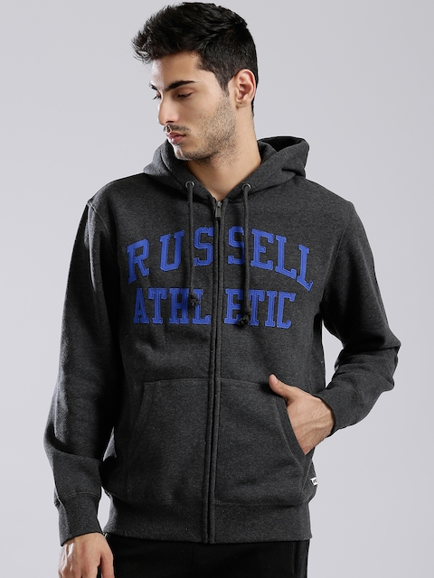 Russell Athletic Charcoal Grey Appliqué Detail Hooded Sweatshirt