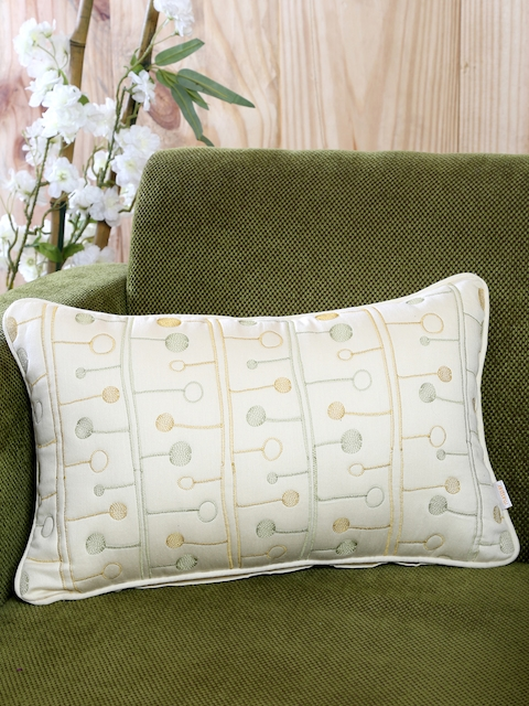 MASPAR White Single Embroidered 12 X 16 Rectangle Cushion Cover