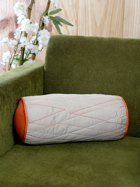 MASPAR Grey & Orange Single Embroidered 6 X 14 Cylindrical Cushion Cover with Cushion