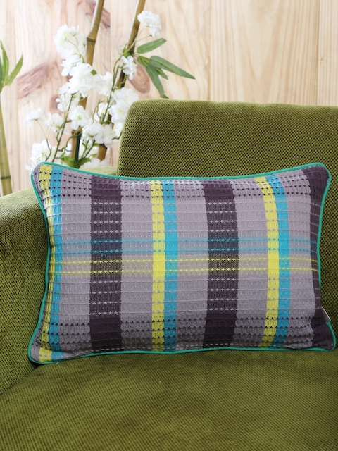 MASPAR Grey & Blue Single Striped 12 x 16 Rectangular Cushion Cover