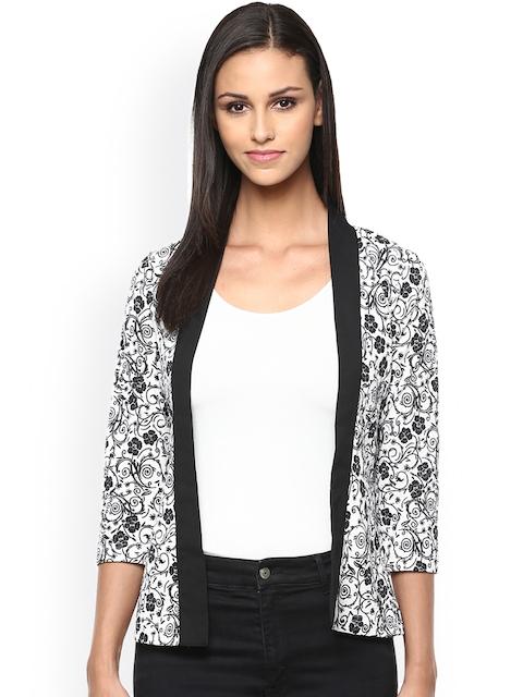 The Vanca Black & White Floral Print Jacket