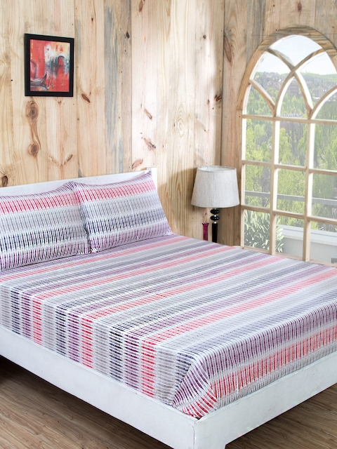 MASPAR Red & Purple 210 TC Fine Cotton Double Bedsheet with 2 Pillow Covers