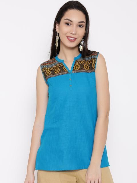 AURELIA Blue Woven Design Kurti
