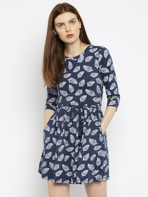 Wills Lifestyle Women Navy Blue Printed Fit and Flare Dress