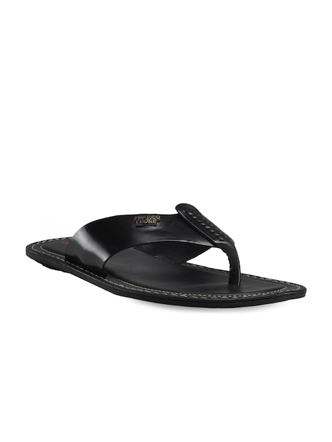 Franco Leone Men Black Leather Sandals