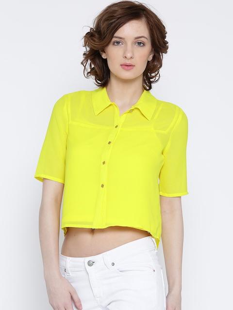 Vero Moda Women Yellow Solid Casual Shirt
