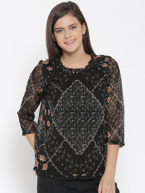 Vero Moda Women Black Printed Top