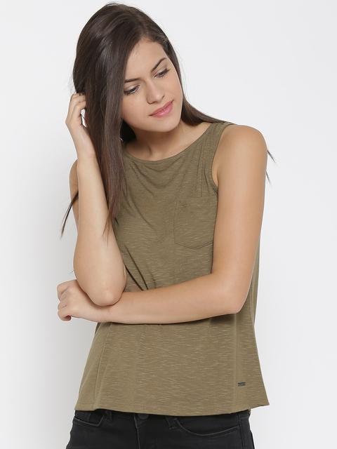 Vero Moda Women Olive Brown Solid Top