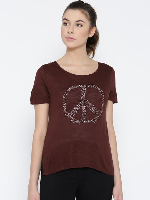 Vero Moda Women Burgundy Embroidered Round Neck T-shirt