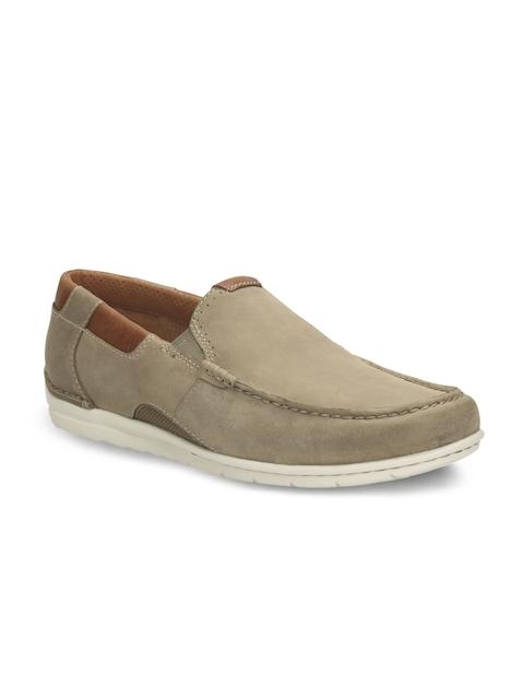 Clarks Men Beige Leather Loafers