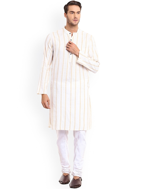 even Men White Striped Straight Kurta  available at myntra for Rs.421