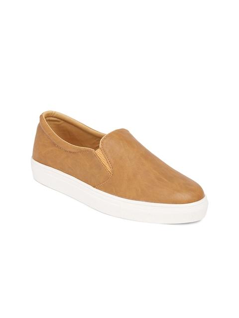 Marc Loire Women Tan Solid Regular Slip-On Sneakers