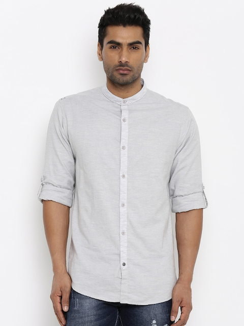 SPYKAR Men Grey Regular Fit Solid Casual Shirt