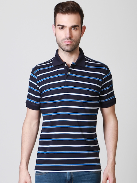 Allen Solly Men Navy Striped Polo Collar T-shirt