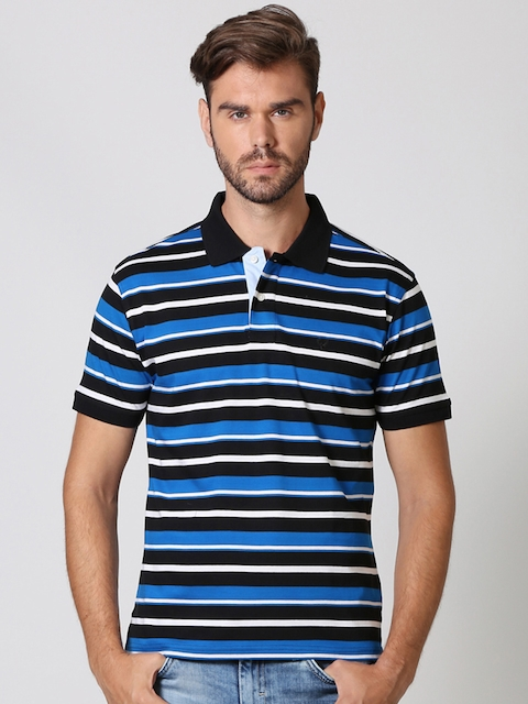 Allen Solly Men Black Striped Polo Collar T-shirt