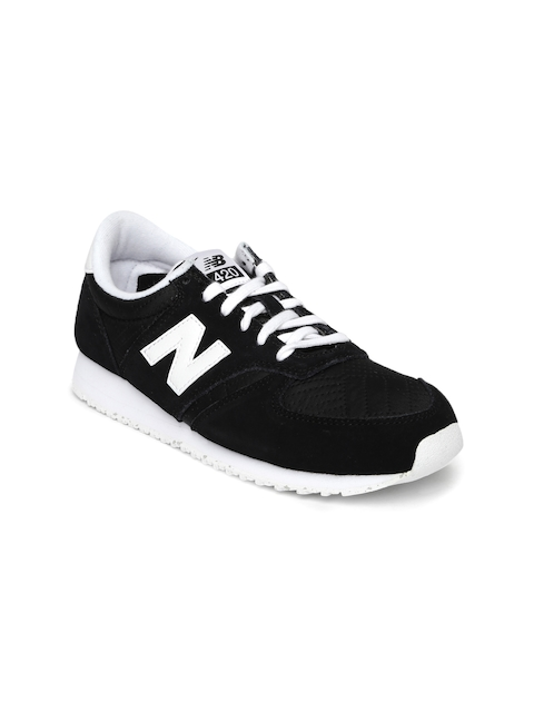 New Balance Women Black Suede Sneakers WL420NPF