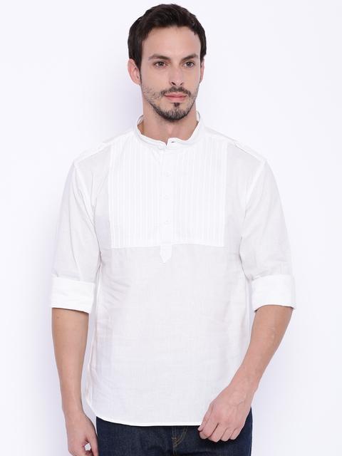 Svanik Men White Striped Kurta  available at myntra for Rs.349