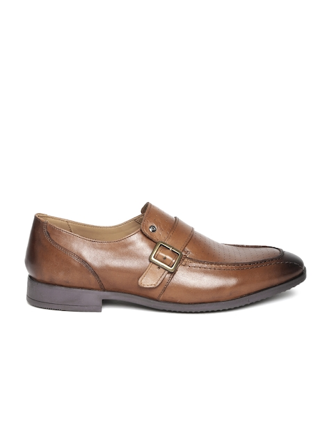 INVICTUS Men Brown Perforated Monk Shoes