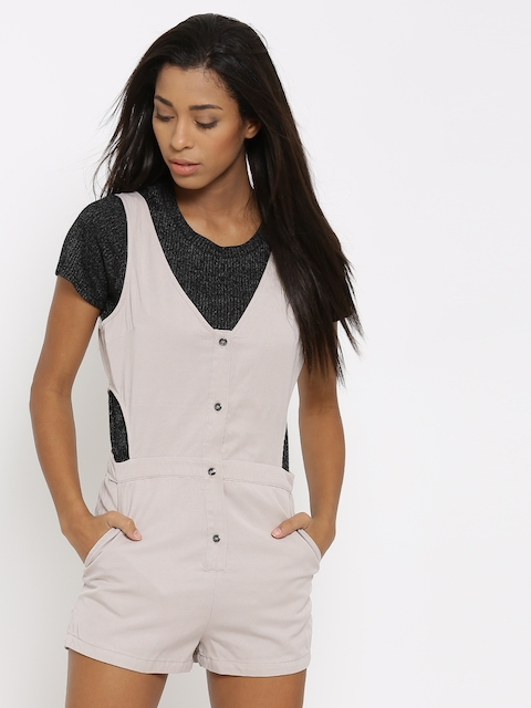 FOREVER 21 Taupe Cut-Out Detail Denim Playsuit
