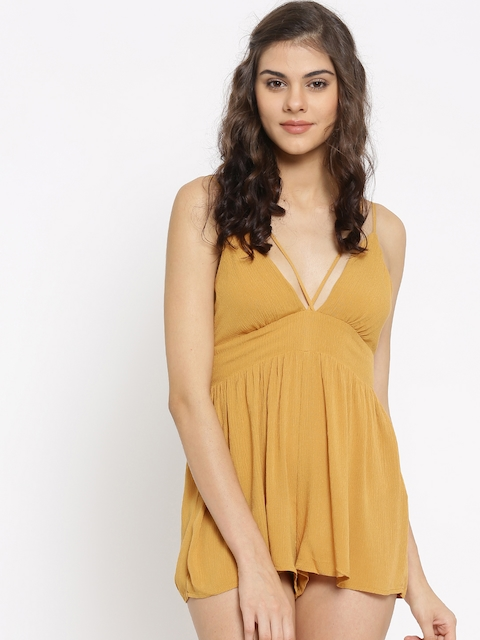 FOREVER 21 Mustard Yellow Playsuit