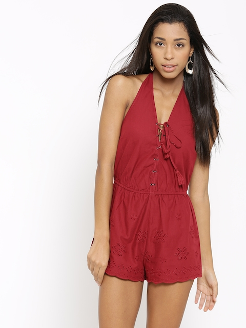 FOREVER 21 Maroon Schiffli Embroidered Halter-Neck Playsuit