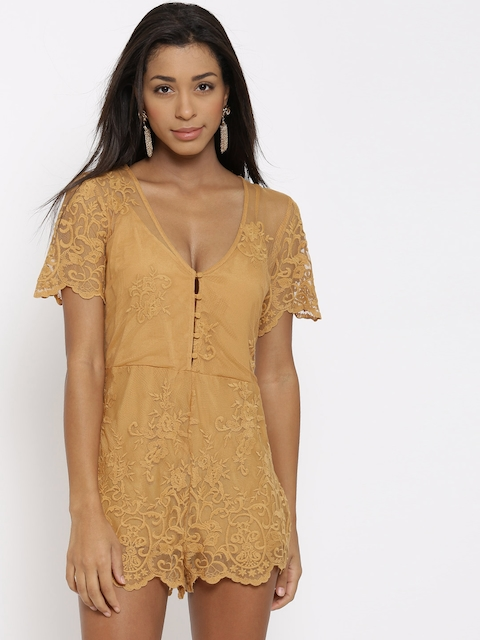 FOREVER 21 Mustard Brown Lace Playsuit