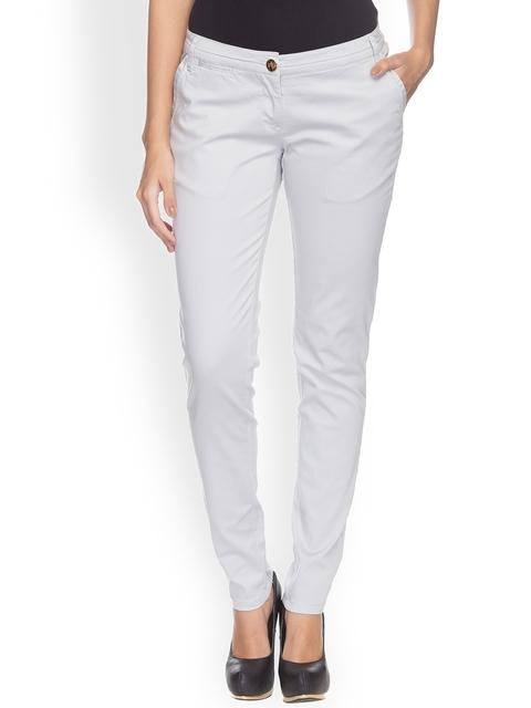 Park Avenue Women Off-White Pencil Slim Fit Solid Regular Trousers