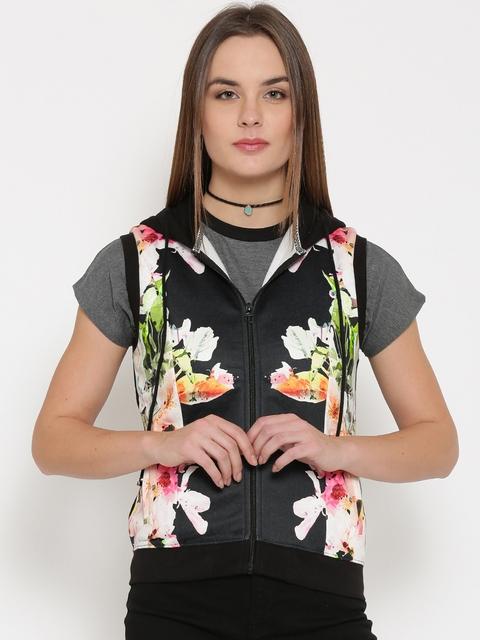 Madame Black Floral Print Sleeveless Hooded Sweatshirt