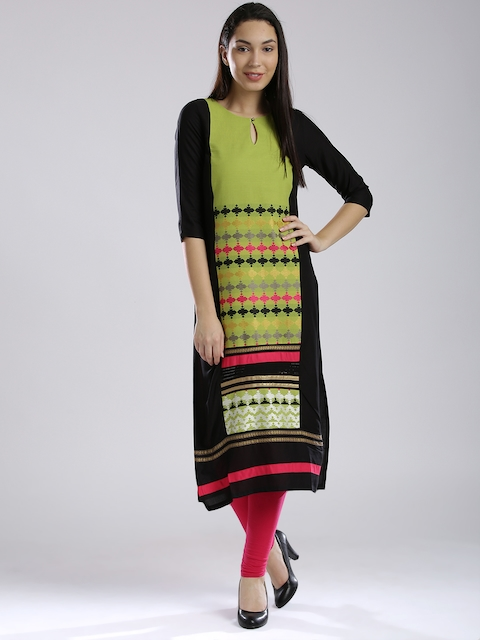 W Women Green Woven Design Straight Kurta