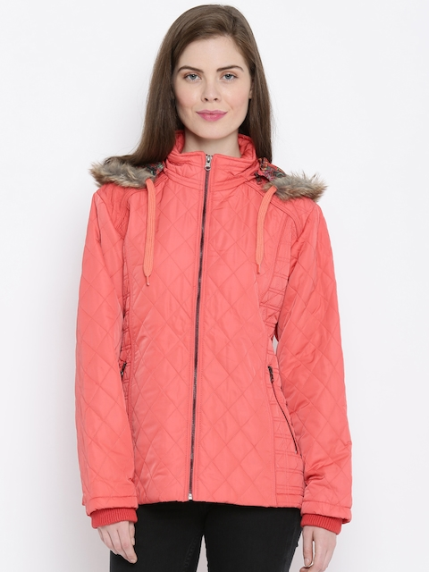Fort Collins Peach-Coloured Quilted Parka Hooded Jacket