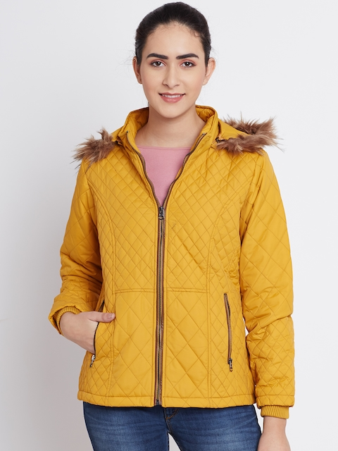 Fort Collins Mustard Yellow Quilted Parka Jacket with Detachable Hood