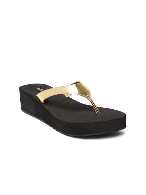 Inc 5 Women Gold Solid Sandals