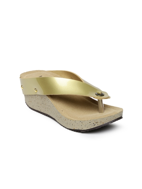 Inc 5 Women Gold Solid Sandals