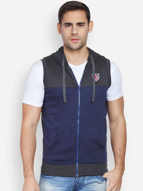 Peter England Men Blue & Dark Grey Hooded Sweatshirt